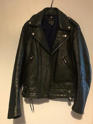 """Expectations Leather Biker Jacket, 36"""" (S) Small, Punk/Perfecto/Bluf"""