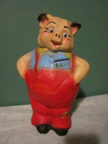 """Rare Circa 1950s A.N. Brooks Merchandise Mart Plastic Pig Coin Piggy Bank 9 1/2"""""""