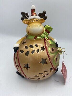Home Reflections Decor Large Light Up Color Changing Reindeer Bulb w/Gift Box