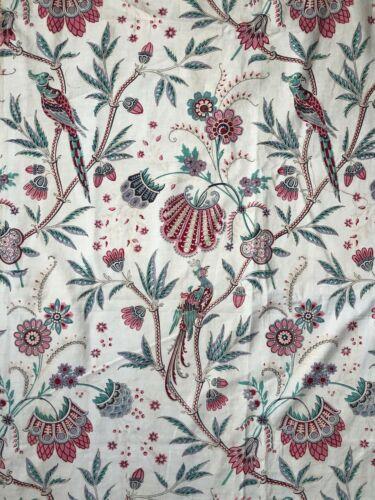 "Antique French Indienne bird cotton linen fabric c. 1890-1910 (L 56"" x W 32"")"