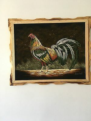 "GALLO DE PELEA , VELVET PAINTING , 18"" BY 22"" W , FRAME , SIGNED"