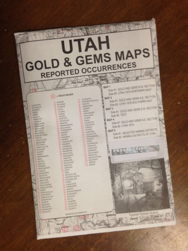 UTAH Gold & Gems Maps Then and Now LOCATE Minerals Fossils