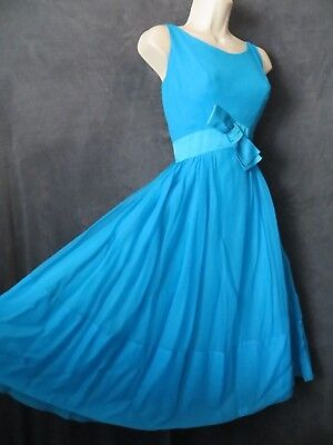50's Vintage Jr. Theme Aqua Blue Chiffon Satin Bow Full Swing Formal Party Dress - 50 Themed Party Clothes