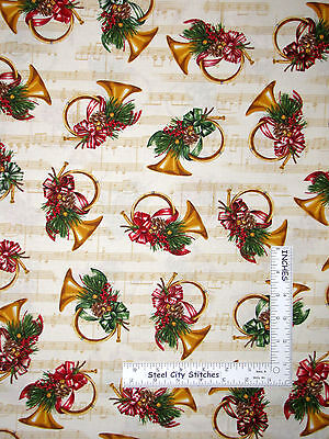 Christmas Horn Music Notes Ivory Cotton Fabric Holly Jolly R