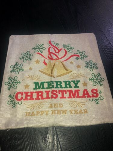 Holiday Merry Christmas Bells Happy New Year Square Toss Pillow Case Cover ONLY
