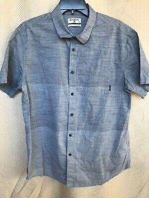 Billabong Mens Size Large Short Sleeve Shirt Core Fit/Stretch Ombre Blue
