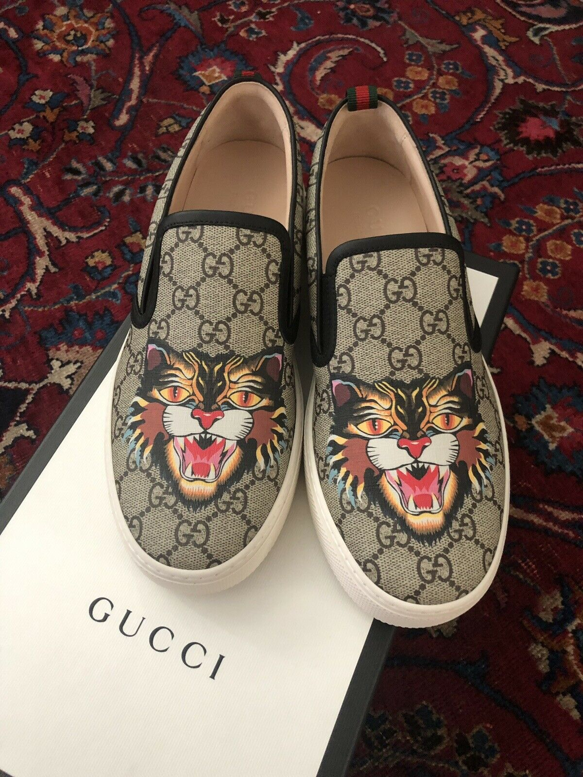 NIB Gucci Supreme Angry Cat Slip On M 8.5US