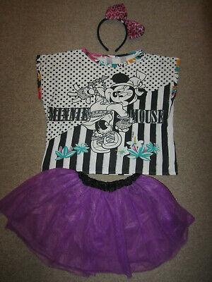 Kinder Damen Kostüm Disney Minnie Mouse Gr. XS 164 Tütü lila Shirt Haarreif
