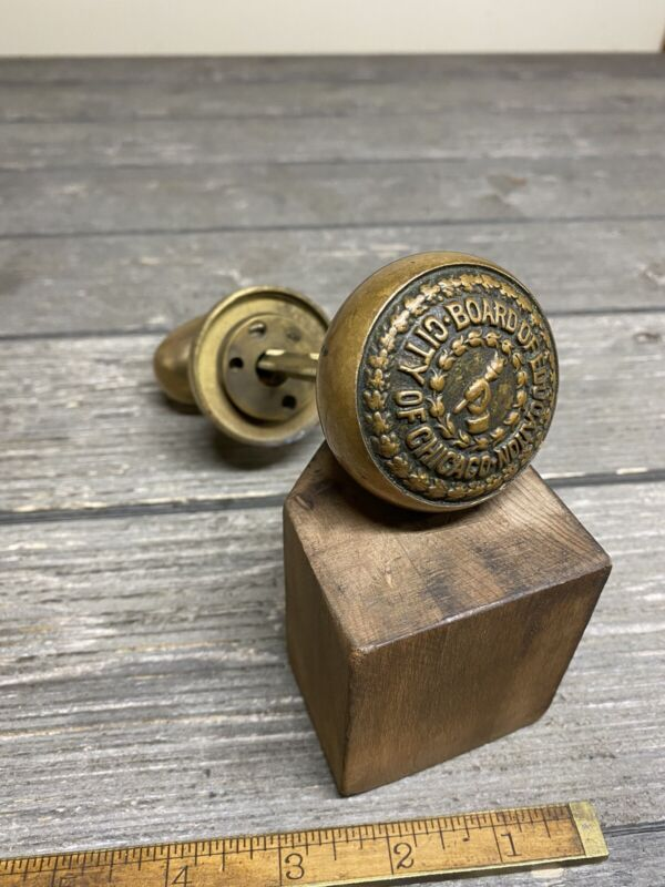 Vintage Brass Door Knob Board Of Education City Of Chicago Incredible Patina