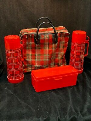 Vintage Aladdin Thermos Red Tartan Plaid Picnic Bag Set Checkered Metal