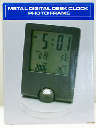 DESKTOP DIGITAL ALARM CLOCK, DATE DAY YEAR TEMP W/ BLUE BACKLIGHT & PHOTO FRAME