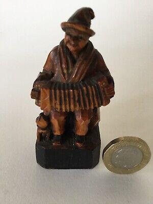 Fine Antique Anri Musician Accordion Player, Wood Carving Figure, Italy Folk Art