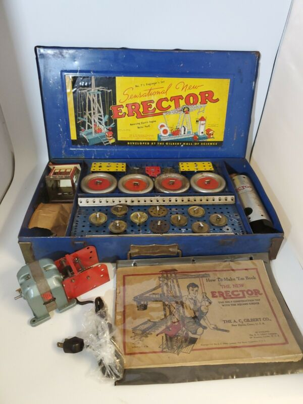 """Vintage A.C. Gilbert Erector Set No. 7 1/2 Engineer Set Blue Metal Case 18""""X 10"""""""
