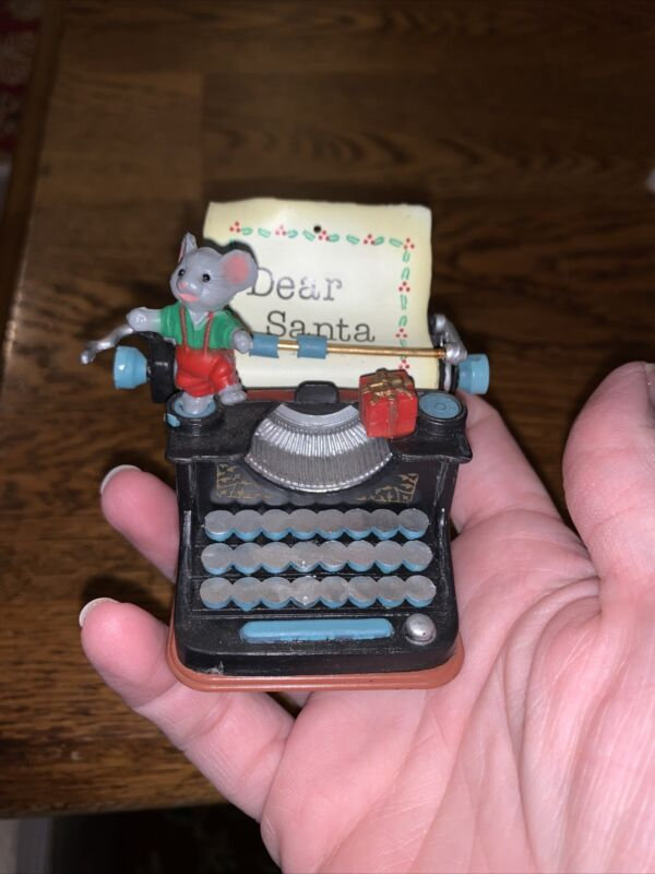 Vintage Dear Santa Mouse standing on old typewriter letter says Dear Santa (CC)