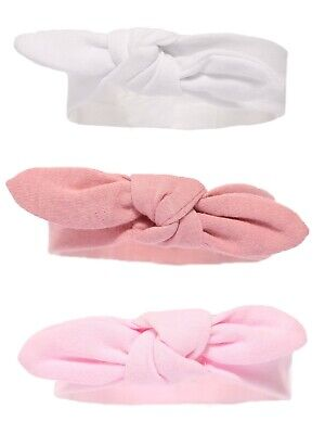 Baby 'Knotty' BOW WHITE ROSE PINK Headband 0-6 MONTHS