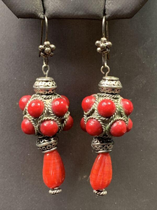 """Red Glass Cabochon Silvertone Bohemian  Drop Dangle Pierced Earrings 2.5"""""""