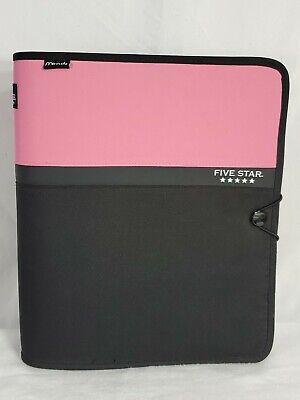 Five Star Mead Zipper Binder Filing Section Multi Pocket Pink Black Ce