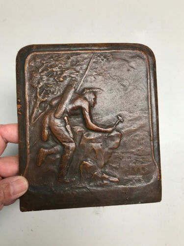 c1910 Embossed Leather Indian Warrior book end (only 1, not pair), w americana