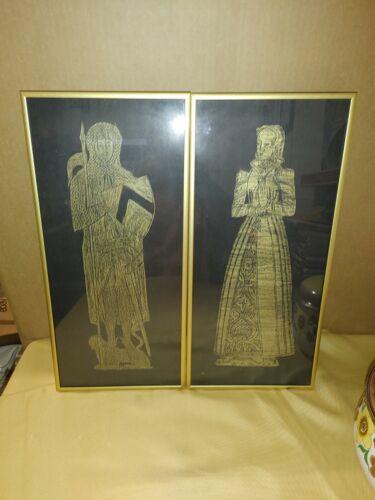 "Vintage Framed Brass Grave Rubbings Avice Tyndall & Sir John Abernoun 17.5"" x 8"""