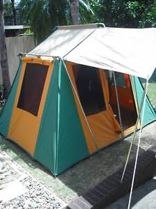 CANVAS 4 PERSON  POLE TENT V.G.C