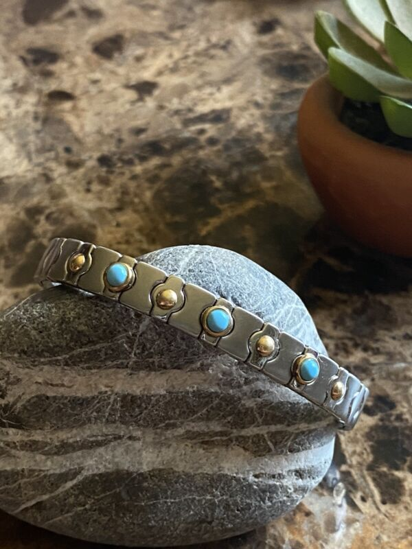 Signed ZOPPINI Italy 750 (18K) Turquoise Stainless Steel & Gold Stretch Bracelet