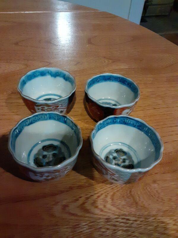 4 Antique Imari Japanese Enamel Tea Sake Cup Set Lot