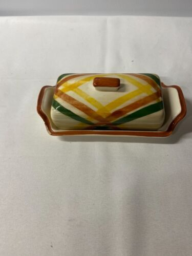 Vintage Vernonware Homespun Covered Butter Dish Pottery