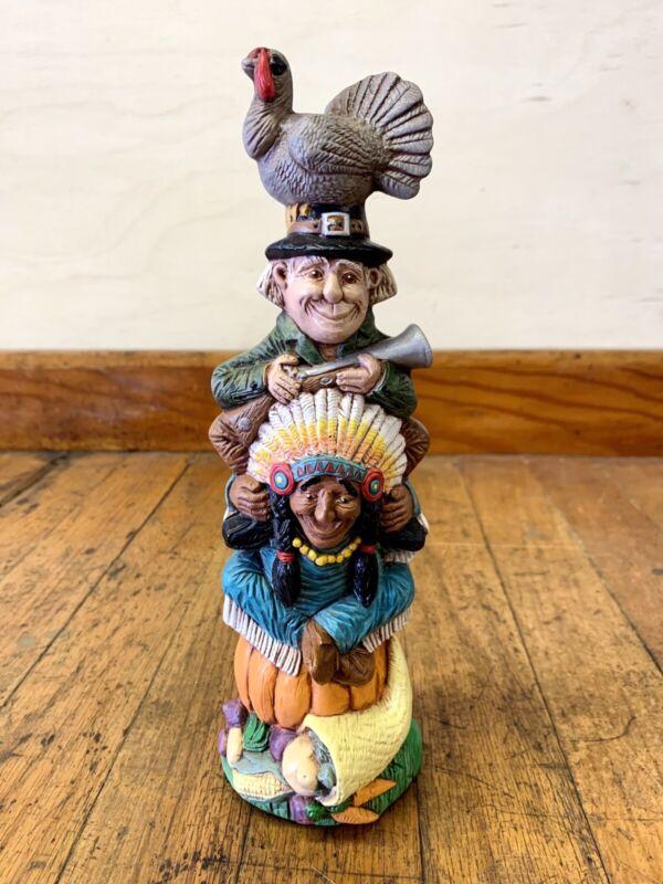 Thanksgiving Totem Pole Decoration, Pumpkin, Indian, Pilgrim & Turkey Ceramic