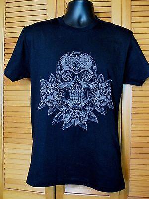 Crew Neck T-Shirt, Day of the Dead, Skull & Flowers Design, Size XL, (Day Of The Dead T Shirt Design)