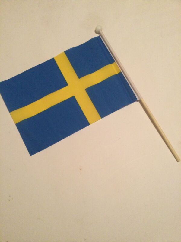 "12 SWEDEN HAND WAVING FLAGS  medium 9"" X 6"" wooden pole flags SWEDISH"
