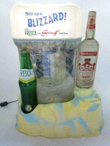 "Vintage 1969 Fresca Smirnoff ""stir up a blizzard"" lighted snow storm bar display"
