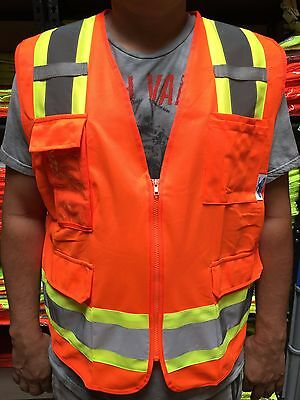 Surveyor Orange Two Tones Safety Vest Ansi Isea 107-2015 Photo Id Pocket