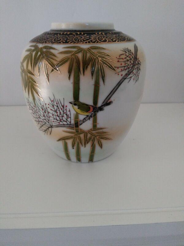 """Japanese Vase Vintage 4 1/8"""" No marking Porcelain Bird & Bamboo Design."""
