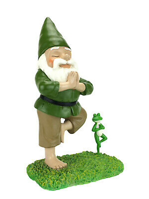 Zen Garden Statues - Zen Gnome and Zen Frog - Tree Pose– Tranquility and Peacefulness Fairy Garden