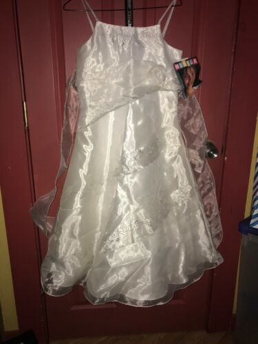 Girls 7-16 Communion Dress Easter White Sprakle New With Tag