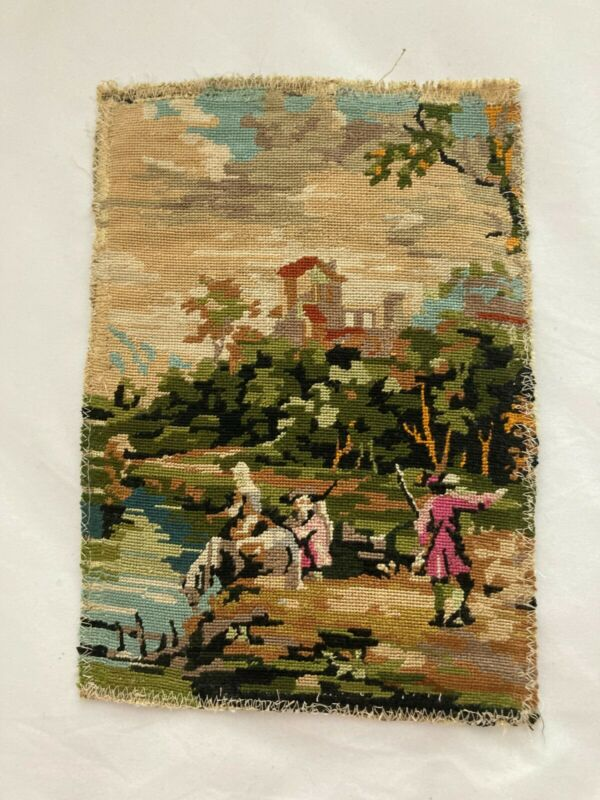 Vintage Romantic French Country Scene Needlepoint