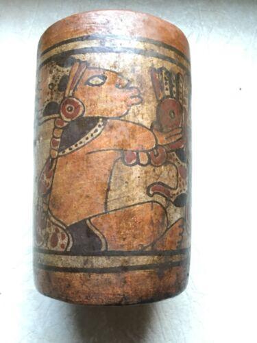 MAYAN  Classical Period 600 900AD WARRIOR & SNAKE GOD QUETZALCOATL Ceremony CUP