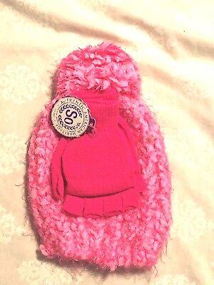 - So:: Pom Pom Knit Hat & Glove Set; Girls Marled, Pink/Metallic Accent, Size 4-7