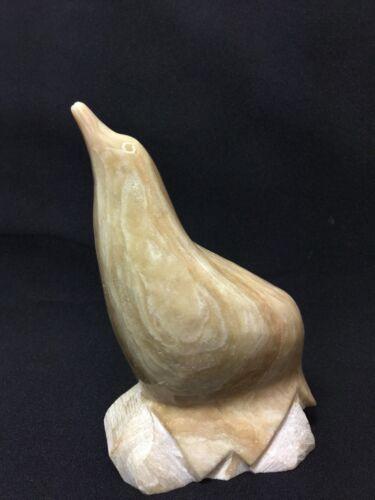Vintage Hand Carved Seal Figurine Gold Beige Tones Marble Stone