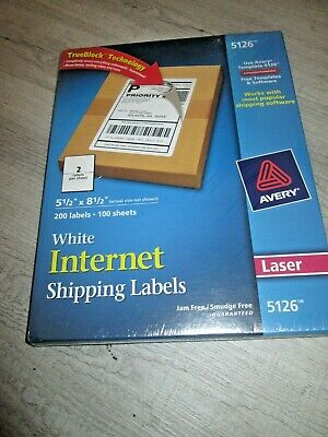 200 Avery 5126 White Internet Shipping Labels 5.5 X 8.5 200 Labels Laser