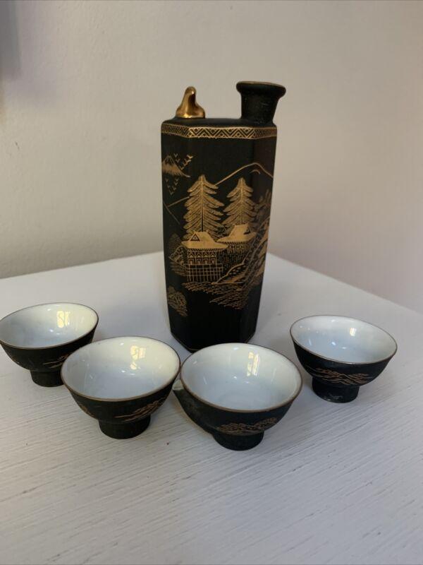 Vintage Whistling Bird Kutani Porcelain Black Hand Painted Sake Set Japan
