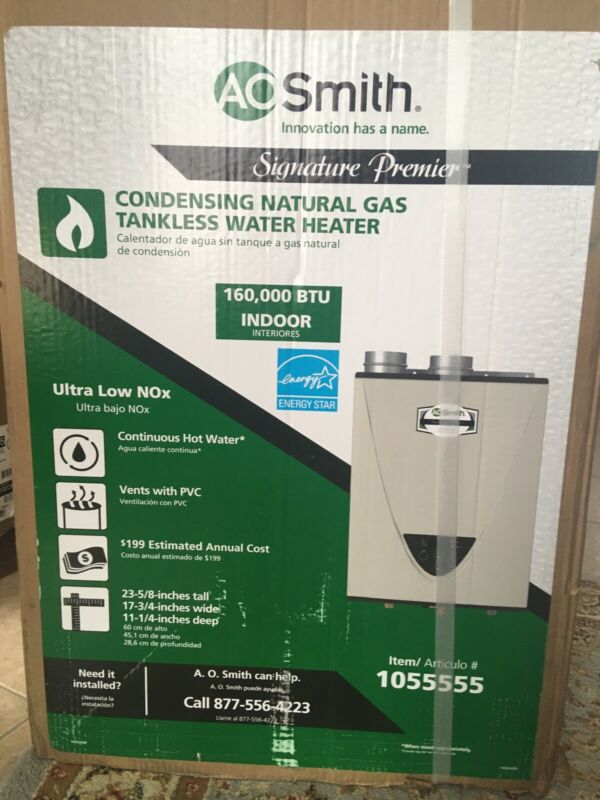 AO SMITH.160000 btu  Indoor gas tankless water heater.