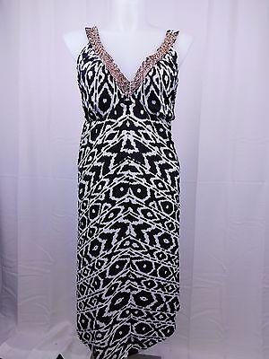 Beaded Handkerchief Hem Dress - INC Plus Size Beaded Aztec Handkerchief-Hem Halter Dress 1X Black-White #4818