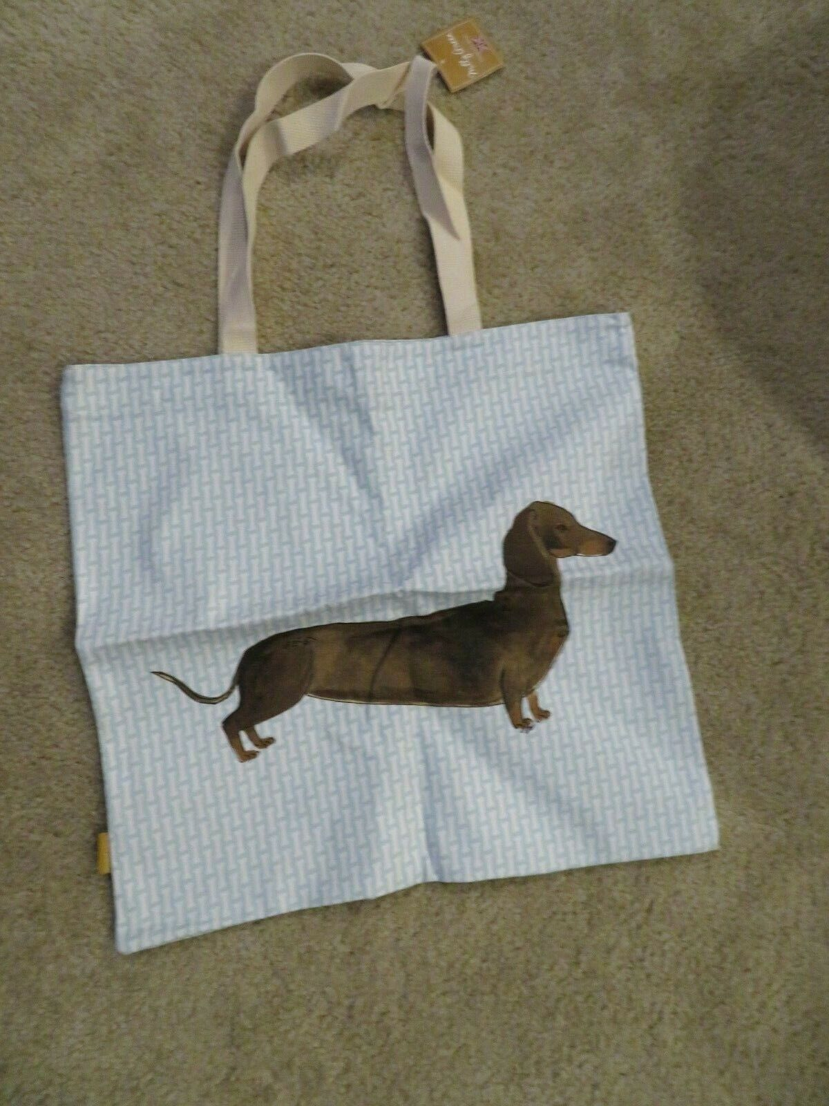 Dachshund Sausage Wiener Dog Large Canvas Tan Gray Tote Tote bag Purse NEW
