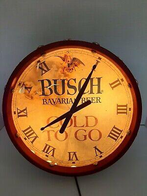 Vintage Anheuser Busch - Bavarian Beer Drum Clock Light Cold To Go