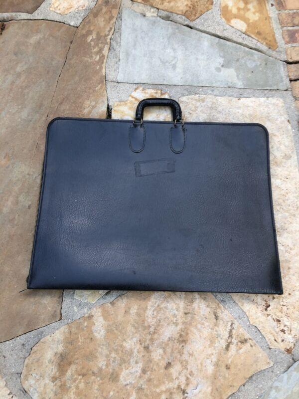 Vintage Design NSM LEATHER Art Portfolio Zippered Case w/ Handle Free Shipping!