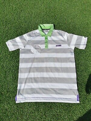 Adidas Grey White Green Striped Golf Polo Shirt - XL - Mint Condition