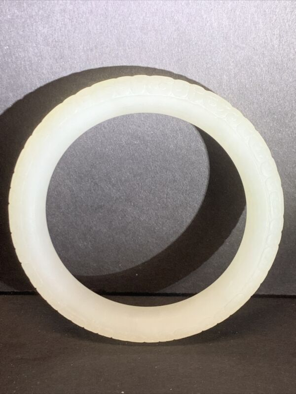Chinese Natural White Clean Hetian Jade Hand Carved Inside Diameter 56.8mm 44 G