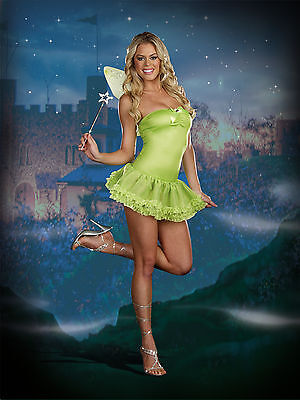 Adult Halloween Perfect Pixie Tinkerbell Fairy Costume w Wings & Wand