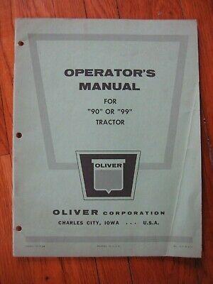Oliver 90 99 Tractor Operators Manual Original